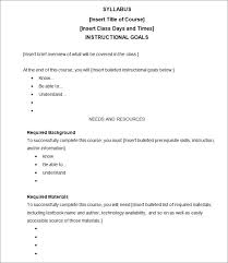 weekly syllabus template syllabus template free templates free premium templates with