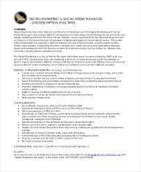 Samples Of Job Descriptions 11 Marketing Manager Job Description Free Sample Example