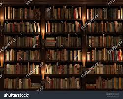Bookshelf Lighting Bookshelf Seamless Texture Background Mysterious Library Stock
