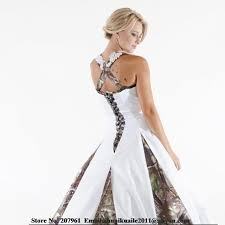 white camo wedding dresses 2016 scoop a line with appliques beads