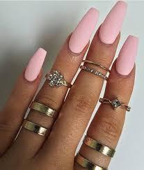 34 matte pink cotton candy long coffin nails