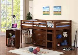 image of low twin size loft bed with desk