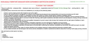 territory manager work experience certificate whole territory manager work experience certificate
