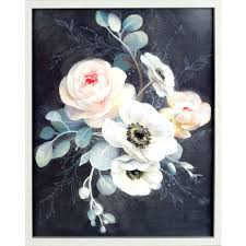 grey and white wall art white flowers on grey canvas wall art x blue and white