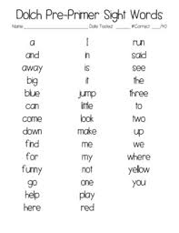 Pre Primer Dolch Dolch Pre Primer Sight Word List And Word Cards By The Reading Shop