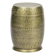 gold madras drum patio side table