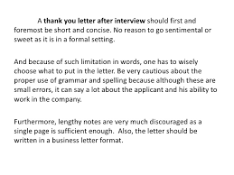 thank you note after interview sample thank you letter after interview