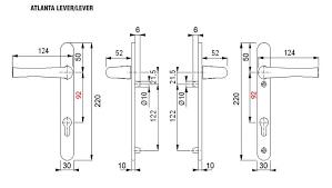 hoppe atlanta 92pz sprung lever lever door handle backplate length 242mm