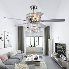 52 Inch Crystal Chrome Ceiling Fan Light Led Light Luxury Lampshade