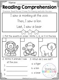 Kindergarten Reading Worksheets Free Grade Reading Fluency ...
