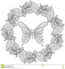 Hand Drawn Zentangle Butterfly In Wreath Of Hibiskus Flower For