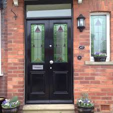 pair of stained glass doors from the drive