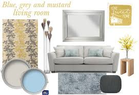 blue grey and mustard living room