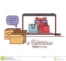 Laptop Met Behang Binnen Van Vastgestelde Gift En Zak Het Winkelen