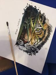Seatattoo74 Seatiger тигр тату тигр акварель акварель тату
