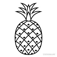 白黒パイナップルの無料イラスト素材イラストイメージ
