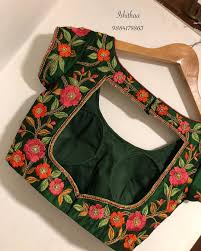 Boutique Blouse Designs 2014 Beautiful Creeper Embroidered Bottle Green Contrast Bridal