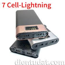 Bộ Vỏ Sạc Dự Phòng 7 Cell Cổng Sạc Lightning - Hiển Thị Led - Pin Sạc Dự  Phòng Di Động Thương hiệu No Brand