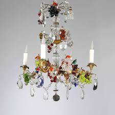 20th century small multi coloured glass chandelier 20th century