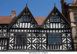 Tudor architecture in the historic market town of Shrewsbury. - Stock Image