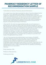 A Letter Of Recommendation Example Pharmacy Residency Letter Of Recommendation