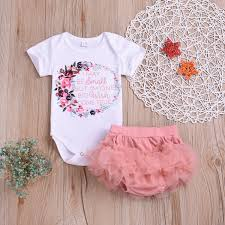 Designer Newborn Baby Girl Clothes 2019 Kids Designer Clothes Girls Clothing Set 2019 Summer Newborn Infant Baby Girl Letter Floral Romper Bodysuit Tutu Shorts Toddler Girls Outfit From