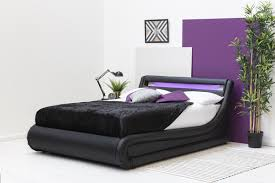 Double Bed Led Light Barcelona Black Led Lift Up Ottoman Storage Low Modern Bed Single Double King Sizes