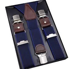<b>Men's Suspenders Casual 3</b> / 6 Clips Braces Leather Suspensor ...