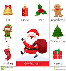 Santa Claus Printables Printable Flash Card For Christmas Set And Santa Claus Stock Vector