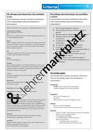 Deutsch Aufsatzlehre Merkhilfen Und Inhaltliche Gliederung F R