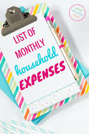Budgeting For A Family Of 4 List Of Monthly Household Expenses For A Basic Monthly Budget