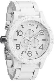 mens white watch shriner dial metal band simulated diamond jojino nixon 51 30 chrono watch in all white silver