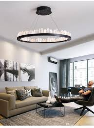 nordic lamp living room crystal chandelier simple post modern light luxury restaurant creative personality atmosphere bedroom annular lamp bronze pendant
