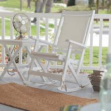 front porch decoration with white wood outdoor folding rocking chair