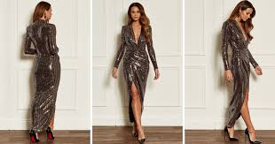 <b>Rose Gold</b> Deep V Wrap Over <b>Sequin Dress</b> | John Zack | SilkFred