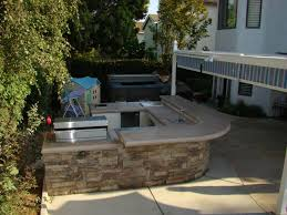 outdoor kitchen island poured concrete countertop