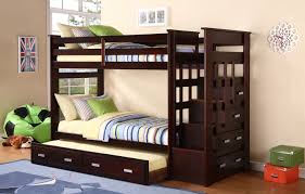 impressive twin bunk beds with drawers espresso kids wood stairway storage within kids bunk bed with trundle ordinary