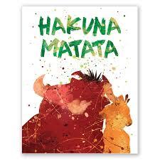Pgbureau Hakuna Matata Nursery Poster Inspirational Quote Print Colorful Summer Hawaii Home Wall Decor Lion King Cartoon Kids Room