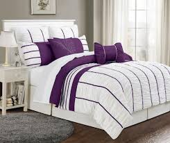 simple bedroom with 1 piece square cushions and cal king villa purple white bedding sets