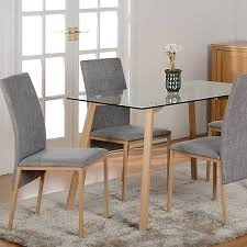 morton rectangular glass table 4 upholstered chairs dining set freemans
