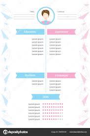 Vector Minimalist Resume Template Feminine Resume Infographic Design