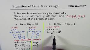 how to find intercepts and slope from 0 25x 0 5y 1 linear equation