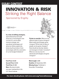 innovation risk striking the right balance essay contest  primary question in a time of shifting strategies agile adversaries and rapid advances in technologies how can the u s and its allies maintain strategic