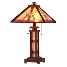 mission tiffany stained glass table lamp w wood base