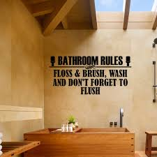 details about bathroom rules don t forget to flush vinyl wall decal quote sticker decor gd518