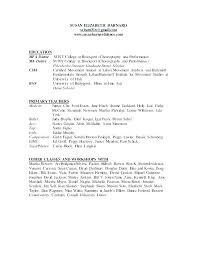 Dance Resume For Modern Dance Resumes Examples Dance Resume Templates Dancer Resume Template