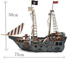 wooden pirate ship toy free gift puzzle large size asda