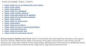Delta Air Lines Worldwide Skymiles Award Charts Live And