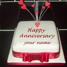 Love Anniversary Cake With Name