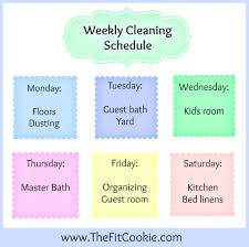 Weekly House Cleaning Chart Printable Weekly Cleaning Schedule The Fit Cookie